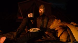 When you camp with Chocobos, they rest with you.
